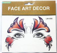 temporary mask face and eye flash gold temporary tattoo