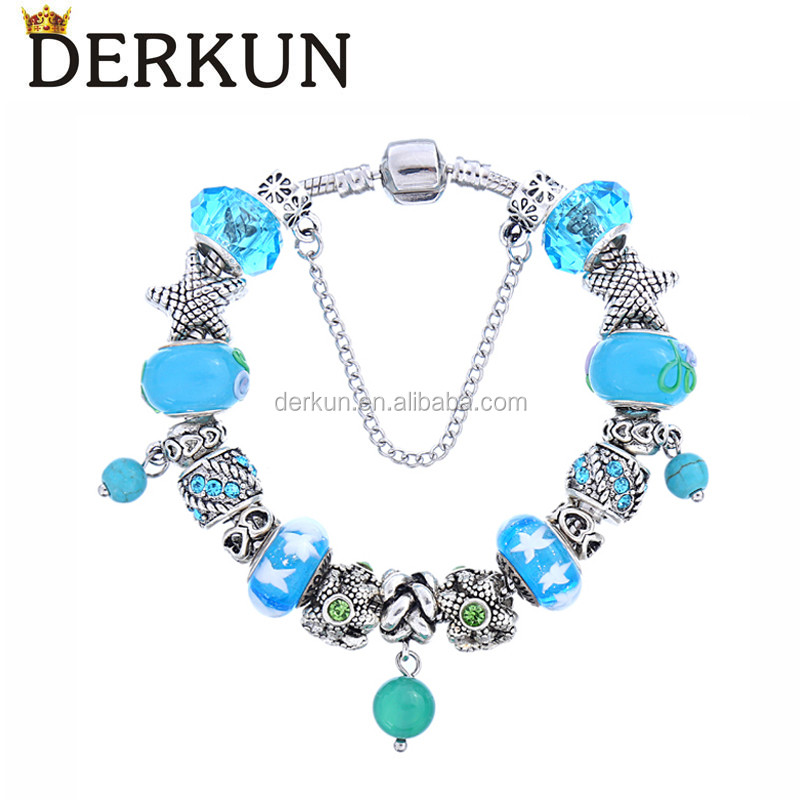 Blue Sea Glass Bead Bracelet Sea Star High Quality Natural Murano Charm Bracelet