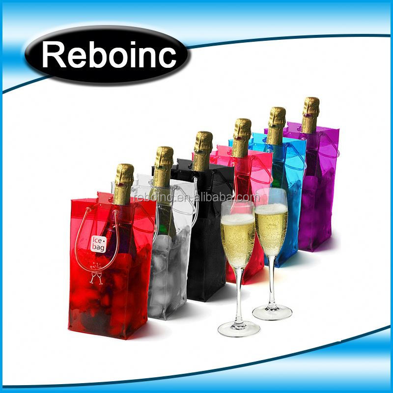 Reboinc-X3 Multi Color clear wine pvc ice bag Ice cooler bag for wine bottle promotional bottle cooling bag