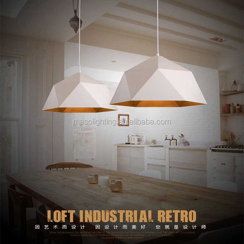 Modern Nordic European style Pendant Lamp Black/White coating Triangle Electroplate Metal light fixture for Home Cafe Loft Decor