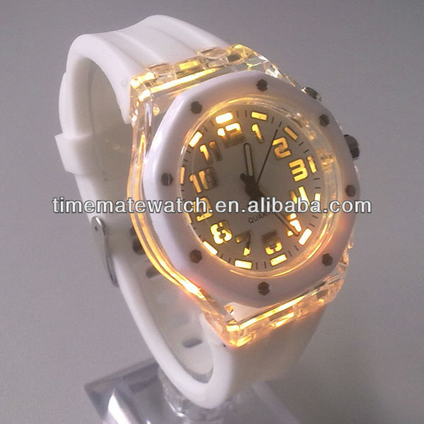 Custom logo waterproof quartz interchangeable silicone strap led flashlight watch