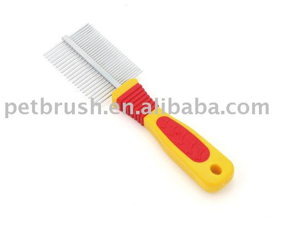 yellow thread handle pet comb