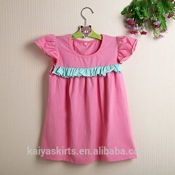 2016 hot sale deep pink girl dress with aqua ruffle children clothes baby frock design pictures
