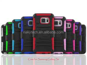 Kickstand Heavy-duty Silicone and PC Rugged Hybrid Protective Case for Samsung Galaxy S6 Cover