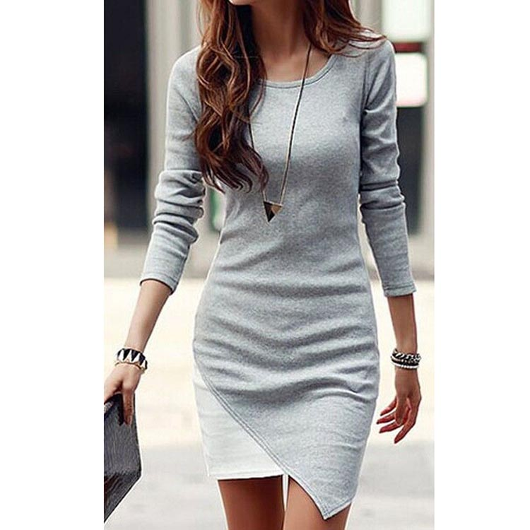 New Design Irregular Stitching Long-Sleeved Settlement Dress