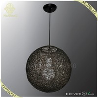 2015 best selling handmade big round ball hanging rattan pendant lamp free shipping