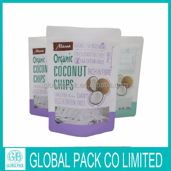 Custom printed coconut flour / chips packaging stand up pouch resealable foil coconut bags