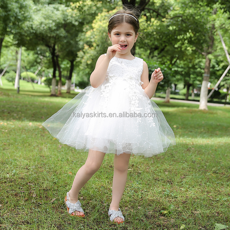 New arrive white baby girls party dress design sleeveless kids fancy clothes dresses