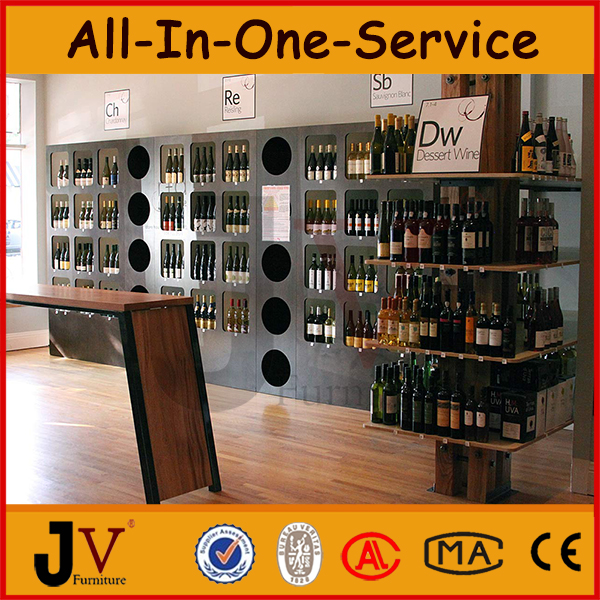 Wine bottle display rack liquor store decoration buy for Wine shop decoration