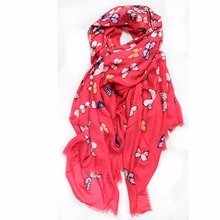 modal cashmere blend fashion butterfly print infinity lady scarf