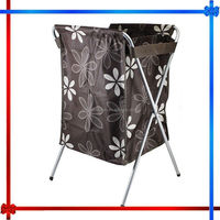MW089 flower printed storage laundry hamper with removable oxford laundry bags