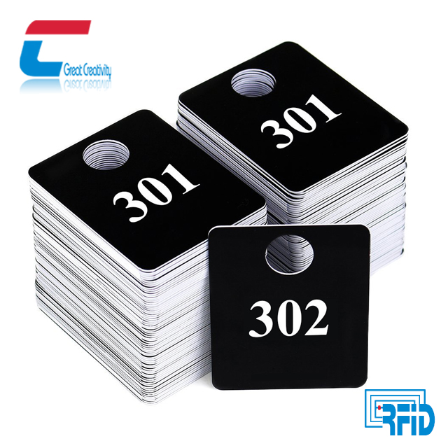 85.5*54mm Custom Printed Series Number Recycled Clothing PVC Hang Tag Label For Garment