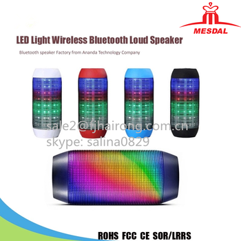 2017 Outdoor portable colorful led bluetooth speakers wholesale waterproof Wireless Bluetooth Speaker Outdoor With LED Light