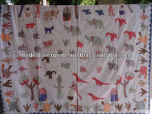 Handmade Kids Bedspread,Kids Bedding,Hand Embroidery Multicolor Cotton Bedcover