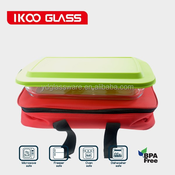 Value Pack oblong baking dish with green plastic cover and hot/cold pack