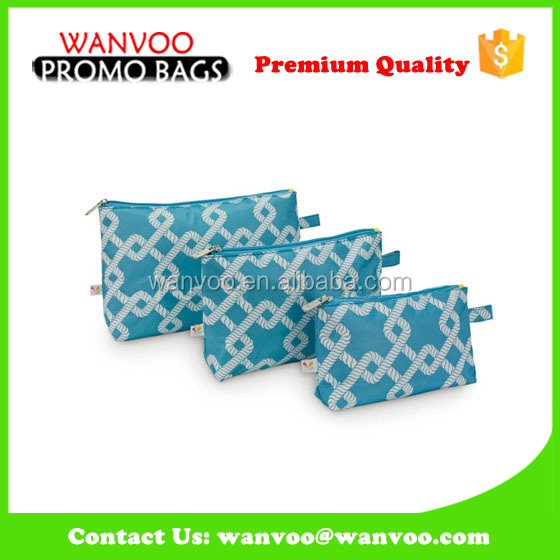 Stylish Waterproof Blue Pu Cosmetic Bag for Women