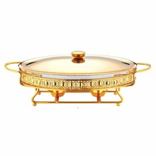 Hotel Golden glass Induction Oval Chafing Dish