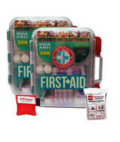2 Pack First Aid Kit With Hard Case- 326 pcs each - First Aid Complete Care Kit - Savers Keychain & Emergency Mylar Blanket