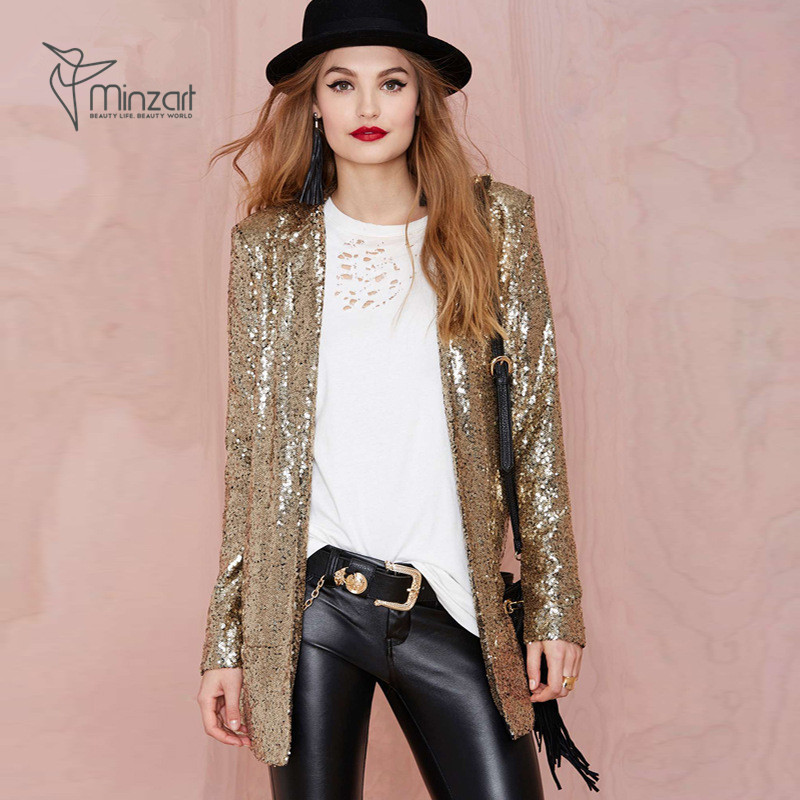Minzart SSCoat0062 Fashion cool Gold sequins women jacket for party
