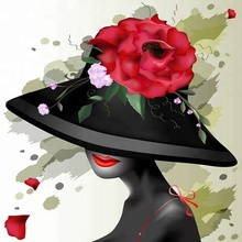 DIY Diamond Embroidery Painting Beautiful Lady in a Hat