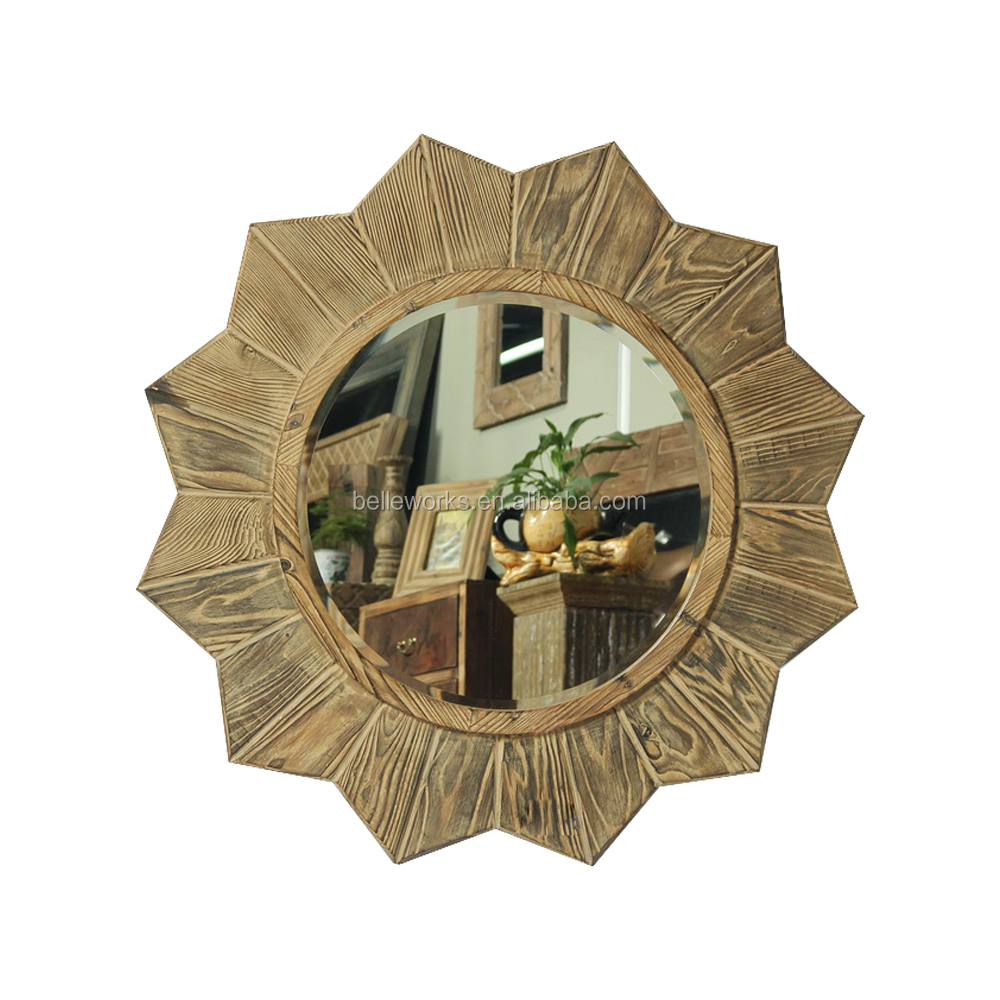 The heart of the universe flower shape wall mirror,large wooden decorative mirrors for room