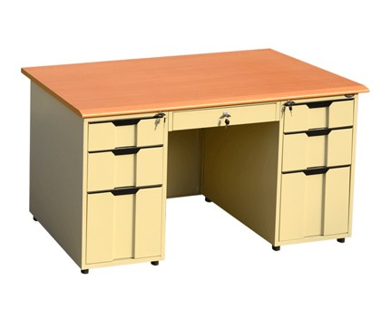 HANDINHAND OD-K2A modern design office table PVC wooden top office table with double bucket and a middle drawer