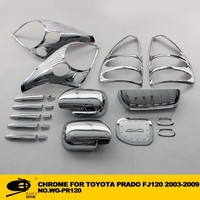 Complete Full Set of Exterior Chrome accessories with 3M Tape fits TOYOTA PRADO FJ120 2003-2009 chrome car accessories
