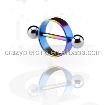 Anodized Nipple Shield Stretching Jewelry Rainbow Nipple Rings Body Jewelry