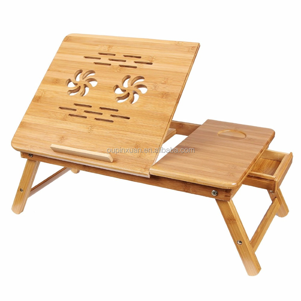 100% Bamboo Adjustable Laptop Desk with USB Fan Foldable Breakfast Serving Bed Tray