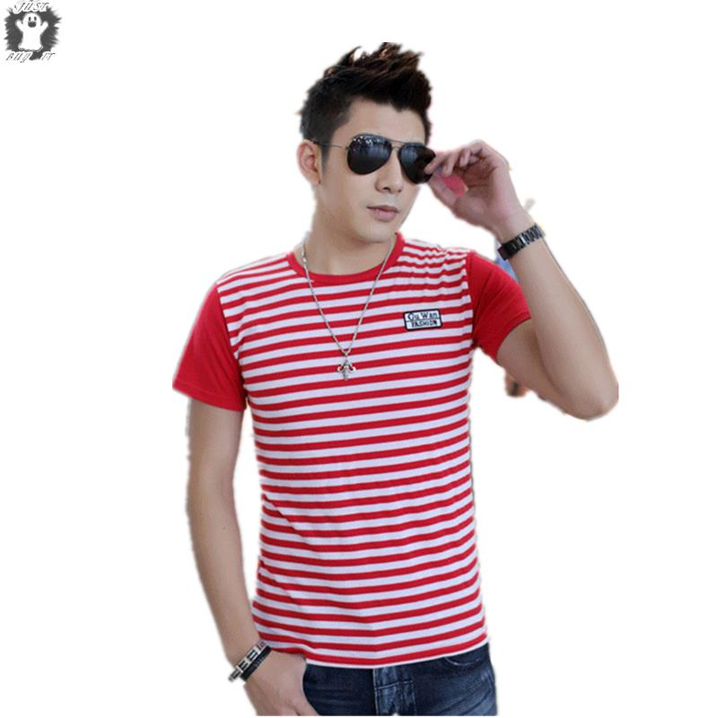 New Brand Summer Style Mens Tee Shirts Short Sleeve Shirts White Striped Casual T-shirt  Cotton Top Sport Man Clothing