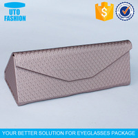 YT4005A luxury fish scale pu leather triangle foldable handmade glasses cases
