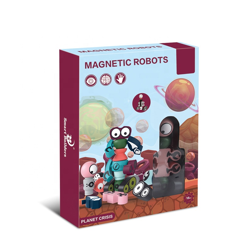A Suit Of 4 Strange Man Magnetic Robot Toy For Children