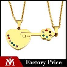 Stailnless Steel Jewelry Open To Your Heart Valentine Day Gift Heart Key Couple Necklace