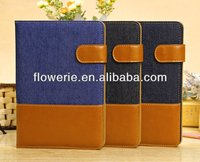 FL009 hot selling Denim wallet leather case for ipad mini 2