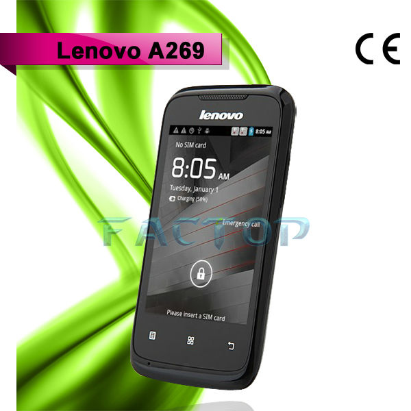 lenovo a269 dual sim card dual standby ram 512mb rom 256mb with CE certificate 3.5 inch mobile phone android telefon