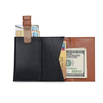 Mens Genuine Leather Slim Wallets Black ID Credit elastic minimalist slimCard Holder wallet
