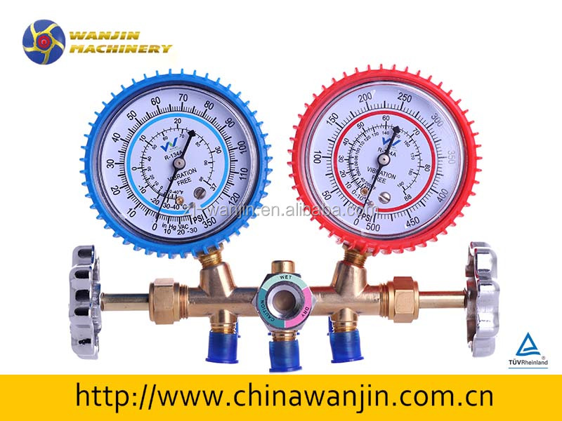refrigeration brass manifold gauge with sight glass