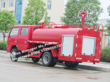 small Dongfeng Water Bowser 400Gals 2000L Water Tank Truck Fire Truck with four doors double cabin price for Sales