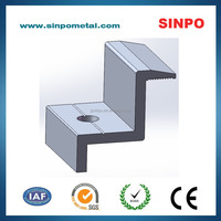 Aluminum component of end clamp for solar module installation 40-16-40