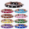 wholesale genuine leather pet dog collar with stud,leather grehound collar