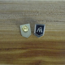 Engraved Iron M Letter Black Gold Brooch Pin