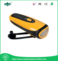 Hotsale cheap Mini 3 led dynamo self charging flashlight, hand crank generator dynamo flashlight