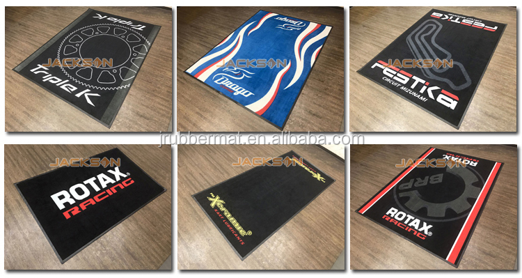 Machine washable nitrile rubber backing garage floor motor logo mat for motorcycle