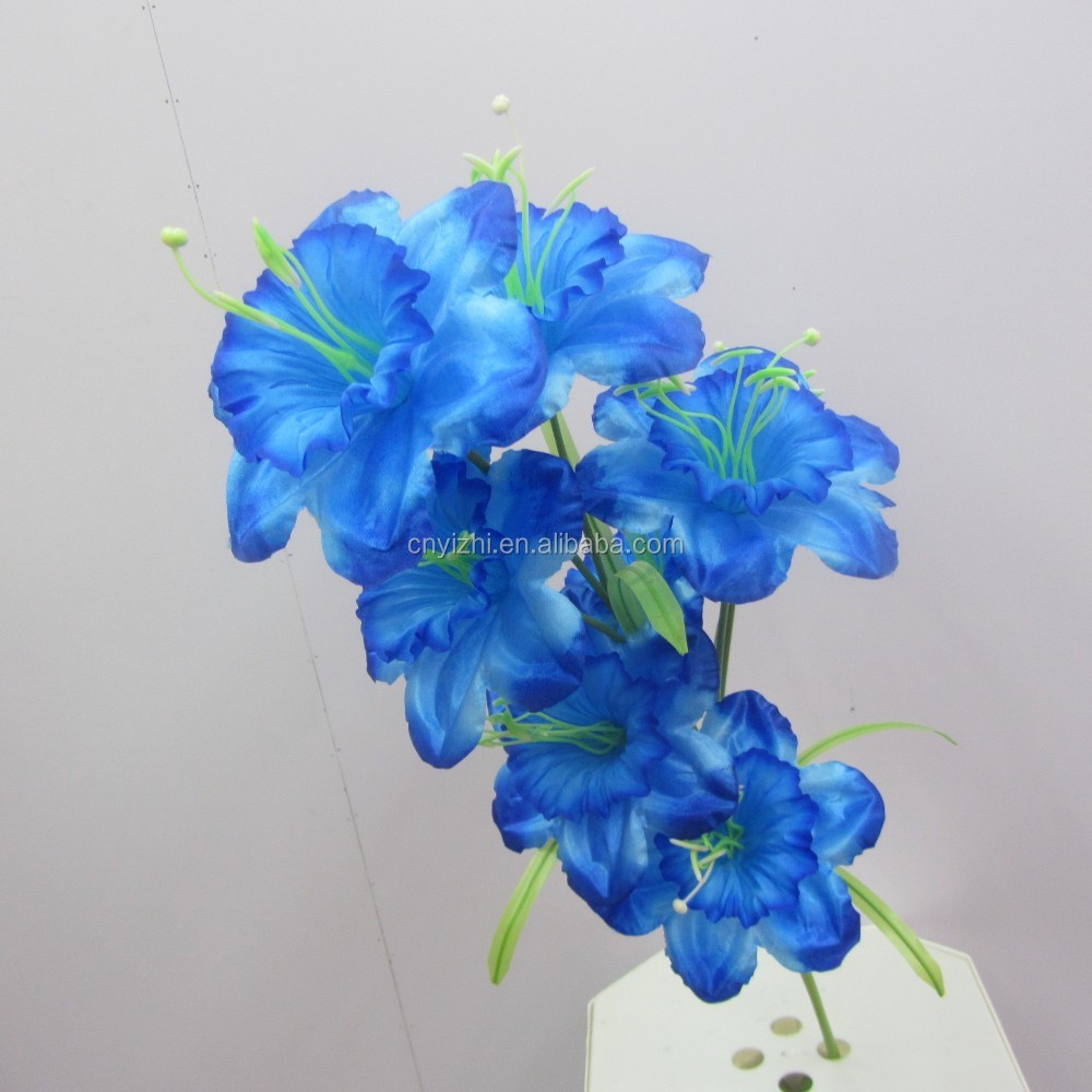 Supply high quality blooms lily flower single oriental blue lily lifelike Lily Spray with 8 flowers