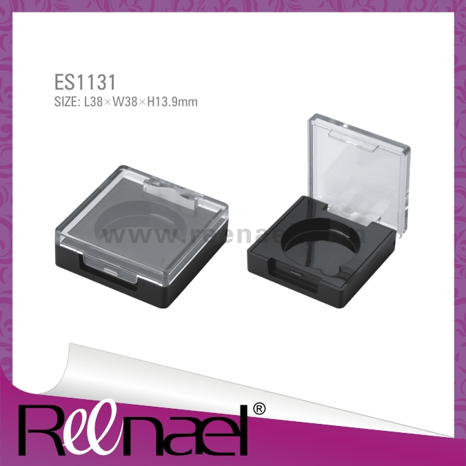Cosmetic packaging plastic cosmetic case square eyeshadow case with clear lid compact powder case good quality