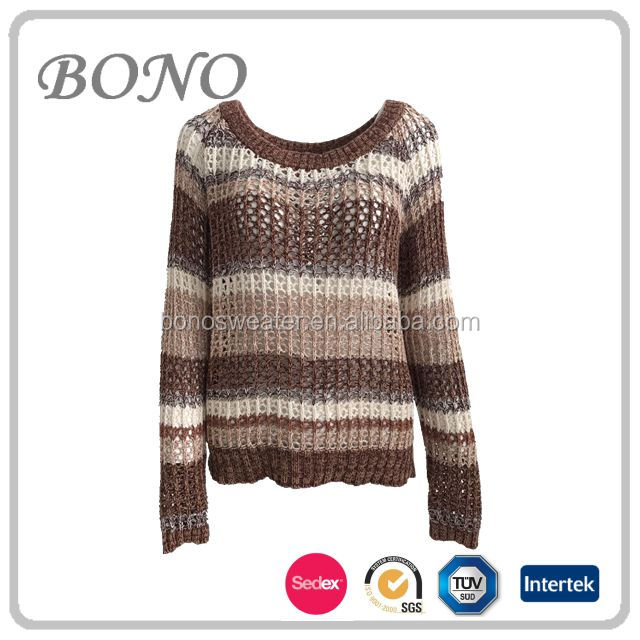 2017 hot sale round neck collar casual stripe hand crochet sweater for ladies