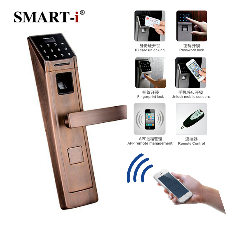 Hot selling European Style touch screen smart biometric home fingerprint door handle lock with free app iOS&Android control