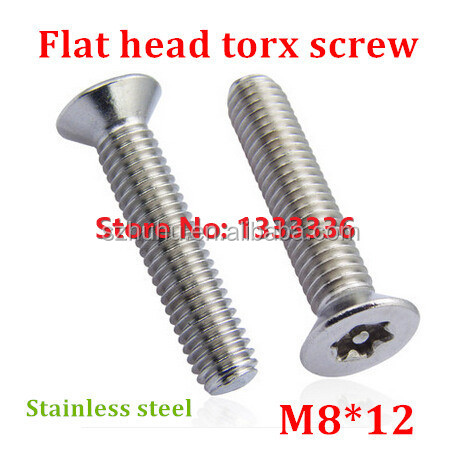 20pcs M8*12 Countersunk Head <strong>Torx</strong> <strong>Screw</strong> 6-Lobe Bolt / Security Anti-theft with Pin Flat Machine <strong>Screws</strong> with Free <strong>Torx</strong> Key