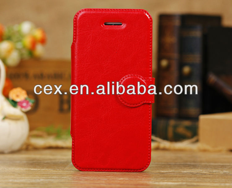 Luxury Red Crystal PU Leather Material Magnetic Stand Case for Apple iPhone 5C