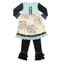 2016 Winter/spring baby clothes children frocks designs for winter fashion animal elephant print dress girls ruffle outfits